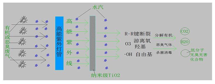 图为光催化氧化除臭设备的工艺原理