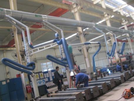 多工位焊烟集中除尘管道铺设